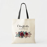 Watercolor Floral Burgundy Bridesmaid Wedding Gift Tote Bag