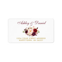 Watercolor Floral Burgundy Gold Wedding Address B Label