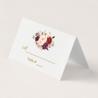 Watercolor Floral Burgundy Gold Wedding Place Card