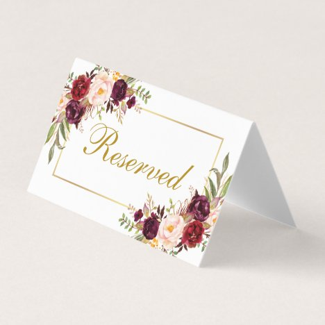 Watercolor Floral Burgundy Gold Wedding Reserved Place Card