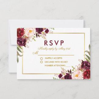 Watercolor Floral Burgundy Gold Wedding RSVP BG