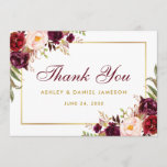 "Watercolor Floral Burgundy Gold Wedding Thanks B Thank You Card<br><div class=""desc"">Watercolor Floral Burgundy Marsala Gold Wedding Thank You Card - Burgundy Script</div>"