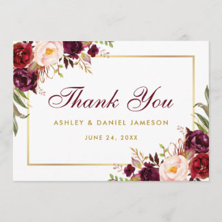 Watercolor Floral Burgundy Gold Wedding Thanks B Thank You Card