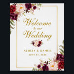 "Watercolor Floral Burgundy Gold Wedding Welcome Poster<br><div class=""desc"">Watercolor Floral Burgundy Marsala Gold Wedding Welcome Poster</div>"