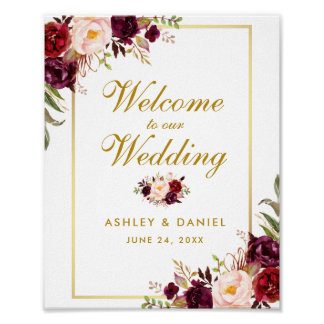 Watercolor Floral Burgundy Gold Wedding Welcome Poster