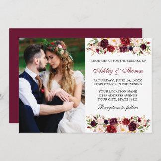 Watercolor Floral Burgundy Photo Wedding Invitation