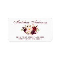 Watercolor Floral Burgundy Script Address Label