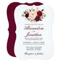 Watercolor Floral Burgundy Wedding BR Invitation