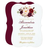Watercolor Floral Burgundy Wedding Gold BR Invitation