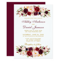 Watercolor Floral Burgundy Wedding Invitation BG