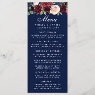Watercolor Floral Burgundy Wedding Menu Blue