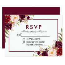 Watercolor Floral Burgundy Wedding RSVP B Card