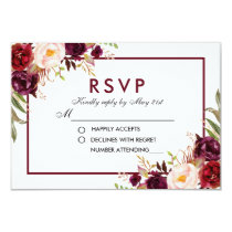 Watercolor Floral Burgundy Wedding RSVP Card