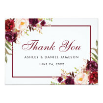 Watercolor Floral Burgundy Wedding Thank You B Card