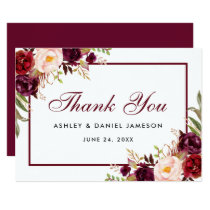 Watercolor Floral Burgundy Wedding Thanks SB Card