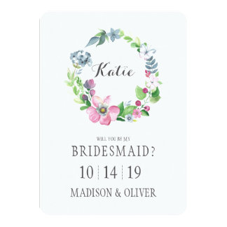 Watercolor Floral & Butterfly | Bridesmaid Card