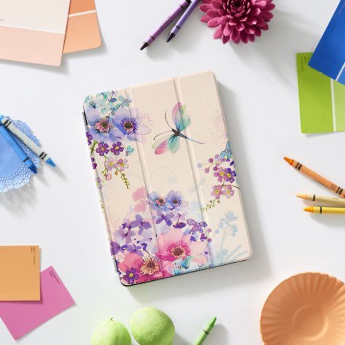 Watercolor Floral Butterfly Garden Glitter iPad Pro Cover
