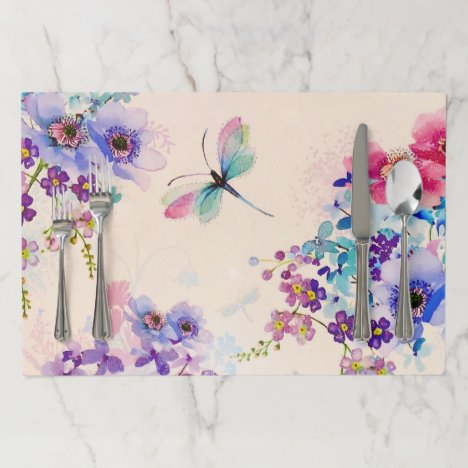 Watercolor Floral Butterfly Garden Glitter Paper Placemat