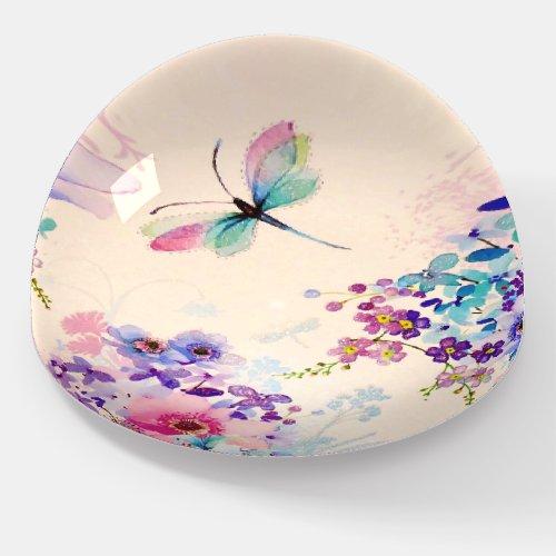 Watercolor Floral Butterfly Garden Glitter Paperweight