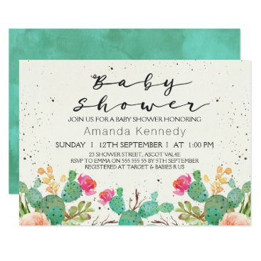 figtreedesign Watercolor Floral Cactus Baby Shower Invitation