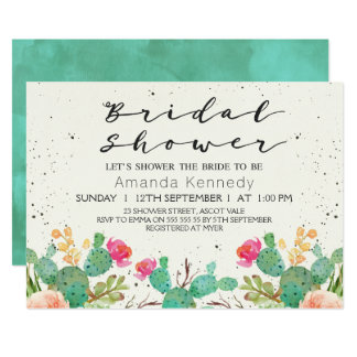 Watercolor Floral Cactus Bridal Shower Invitation