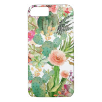 Watercolor Floral Cactus Pattern iPhone 7 Case