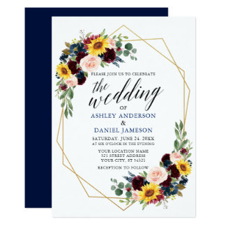 Watercolor Floral Calligraphy Geometric Wedding Invitation