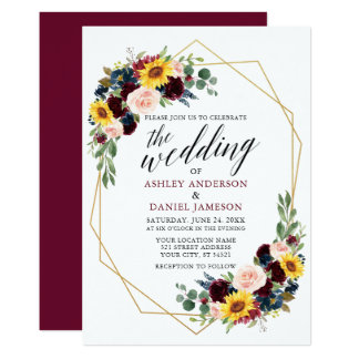 Watercolor Floral Calligraphy Wedding Geometric Invitation