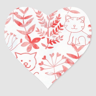 Watercolor Floral & Cats Heart Sticker