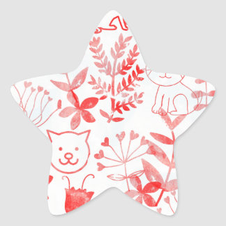 Watercolor Floral & Cats Star Sticker