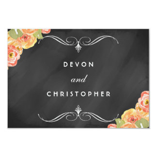 Watercolor Floral Chalkboard Wedding RSVP Cards Invite