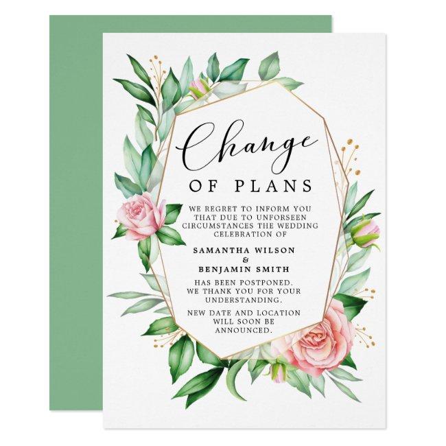 Watercolor Floral Change Of Plans Announcement