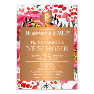 Watercolor floral chic monogram housewarming party card