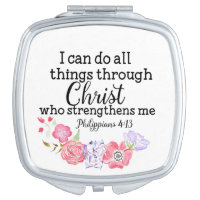 Watercolor Floral Christian I Can Do Things Christ Compact Mirror