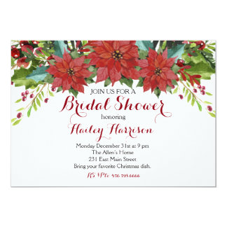 Watercolor Floral Christmas Bridal Shower Invitation
