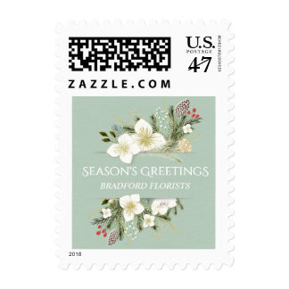 Watercolor Floral Christmas Business Holiday Stamp