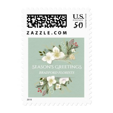 Professional Business Watercolor Floral Christmas Business Holiday Stamp