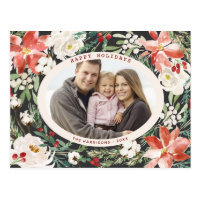 Watercolor Floral Christmas Family Photo Holiday Postcard