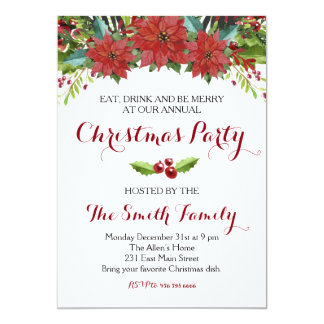 Watercolor Floral Christmas Party Invitation
