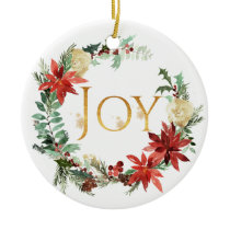 Watercolor Floral Christmas Photo Ceramic Ornament