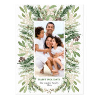 Watercolor Floral Christmas Photo Postcard
