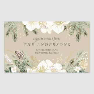 Watercolor Floral Christmas Return Address Rectangular Sticker