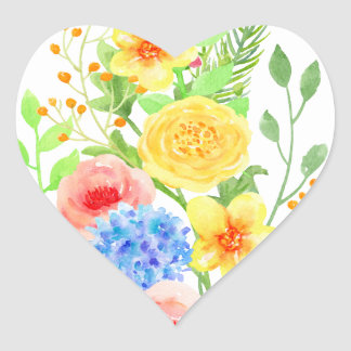 Watercolor Floral Christmas Tree Heart Sticker