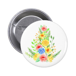 Watercolor Floral Christmas Tree Pinback Button