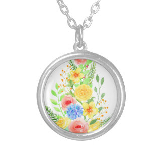 Watercolor Floral Christmas Tree Silver Plated Necklace