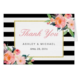 Watercolor Floral Classic Black Stripes Thank You