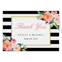 Watercolor Floral Classic Black Stripes Thank You Card