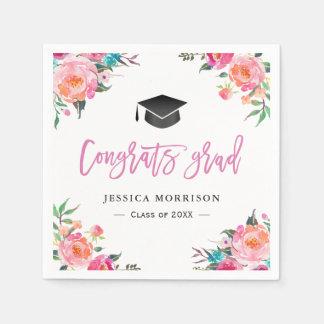 Watercolor Floral Congrats Grad Graduation Party Napkin