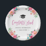 "Watercolor Floral Congrats Grad Graduation Party Paper Plate<br><div class=""desc"">================= ABOUT THIS DESIGN =================  Modern Watercolor Floral Congrats Grad Graduation Party Paper Plate.  (1) For further customization,  please click the &quot;Customize&quot; button and use our design tool to modify this template.  (2) If you need help or matching items,  please contact me.</div>"
