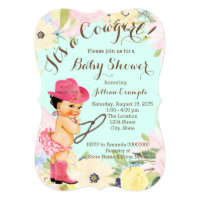 Watercolor Floral Cowgirl Baby Shower Card